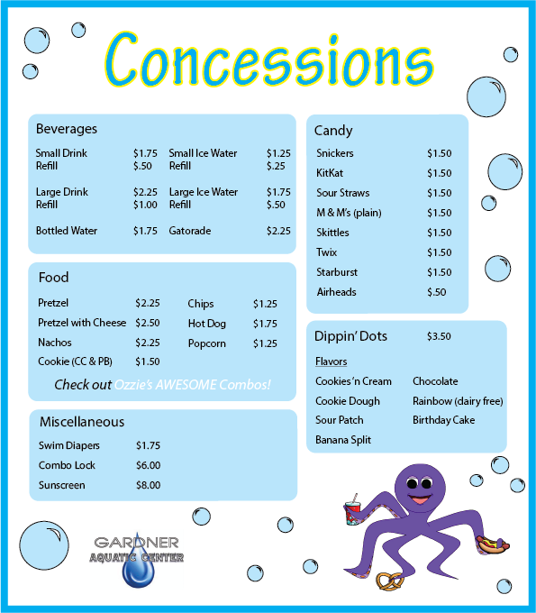 Full Menu Pool with Dippin Dots added 012317