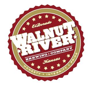 walnut river breweing company maroon color logo