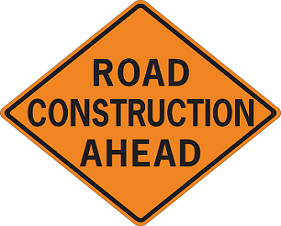 road construction ahead sign - Thumbnail