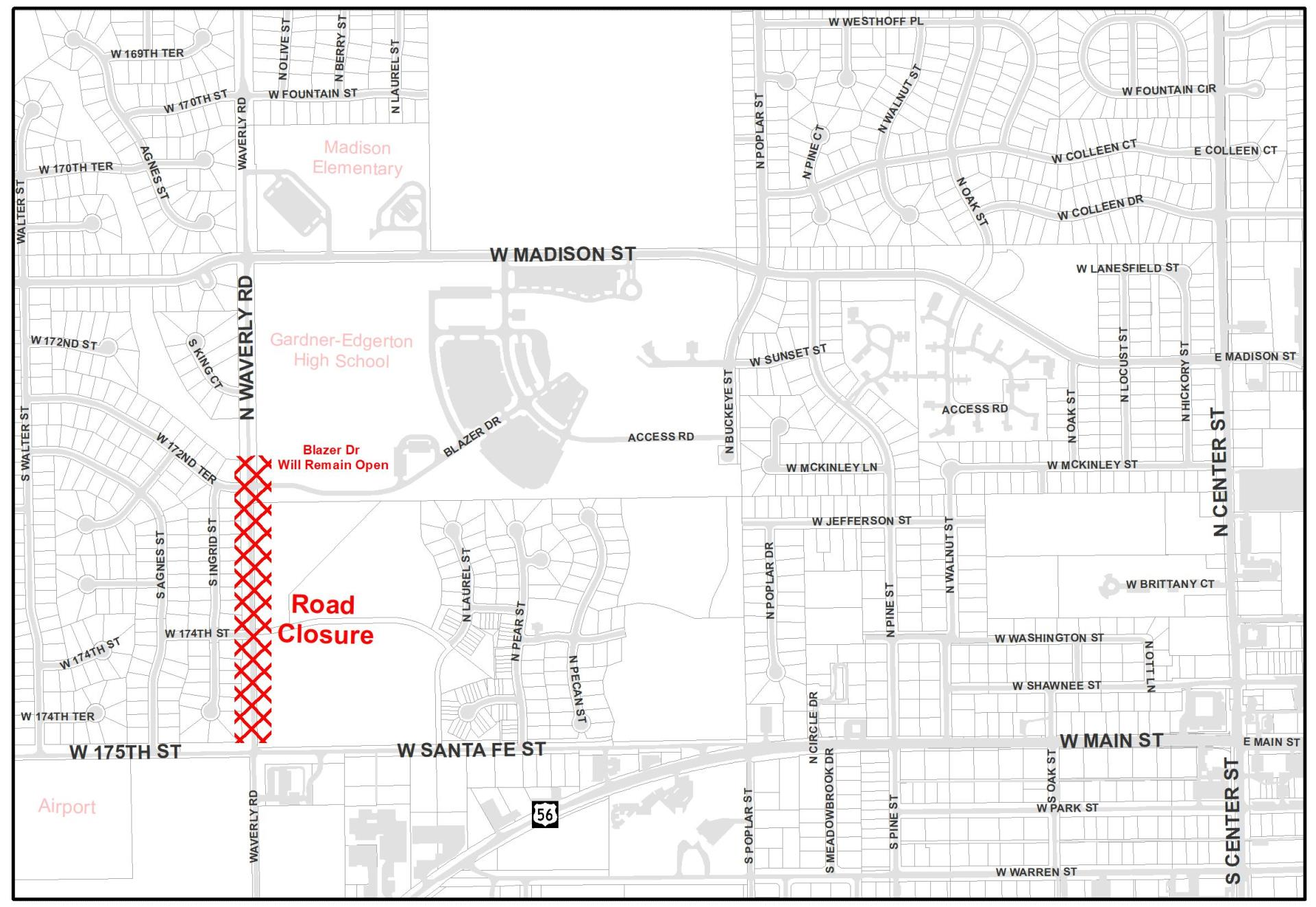 Waverly Road Closure Map